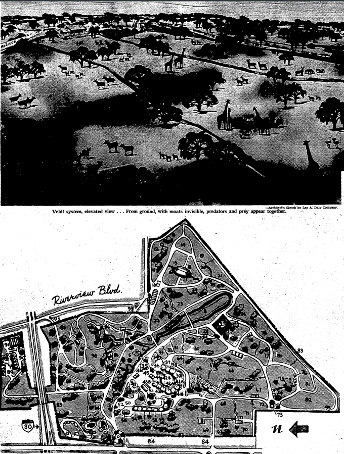 1965 Original Layout of the Omaha Henry Doorly Zoo alongside artist's depiction of zoo.  Courtesy of The Omaha World Herald