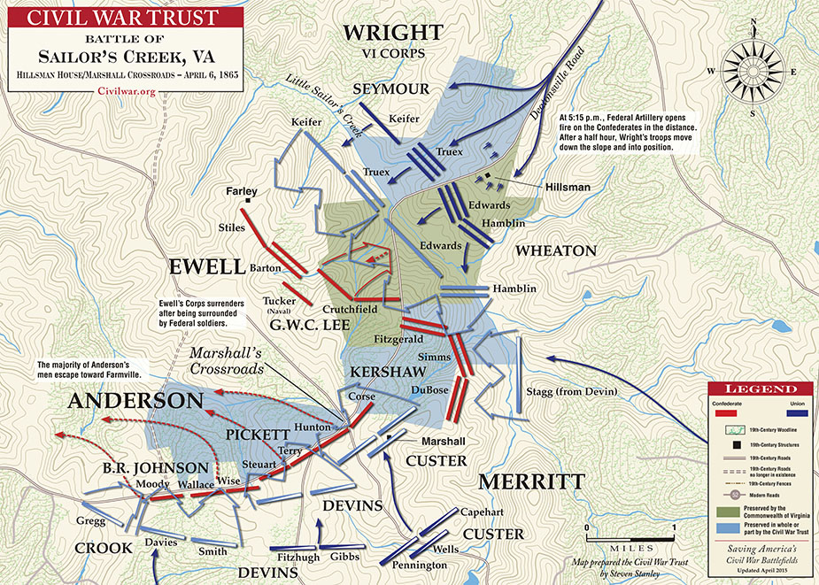 Map of the fighting that took place by name of the general and commanding officer in charge