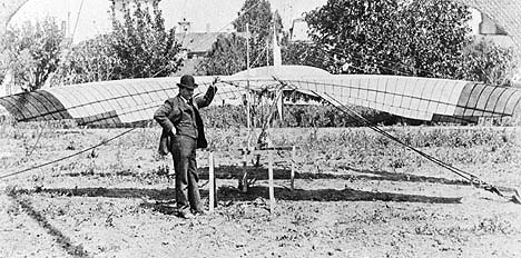 John J. Montgomery and his tandem-wing glider The Santa Clara on April 29, 1905