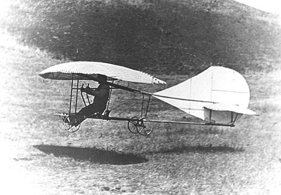 John J. Montgomery landing The Evergreen monoplane glider in October, 1911.