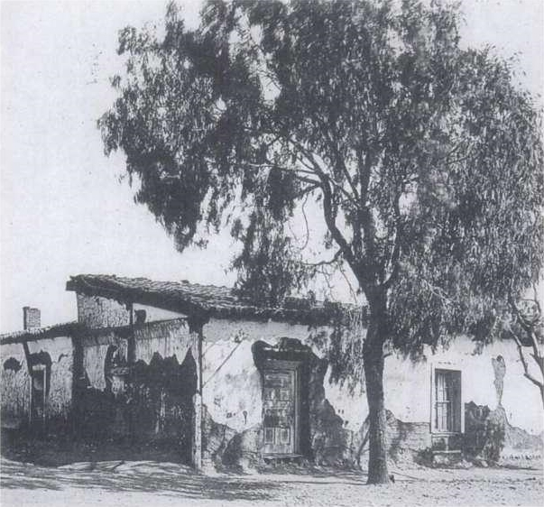 Casa de Estudillo circa 1890. The place was in a terribly dilapidated condition, with the owner having sold off parts of it