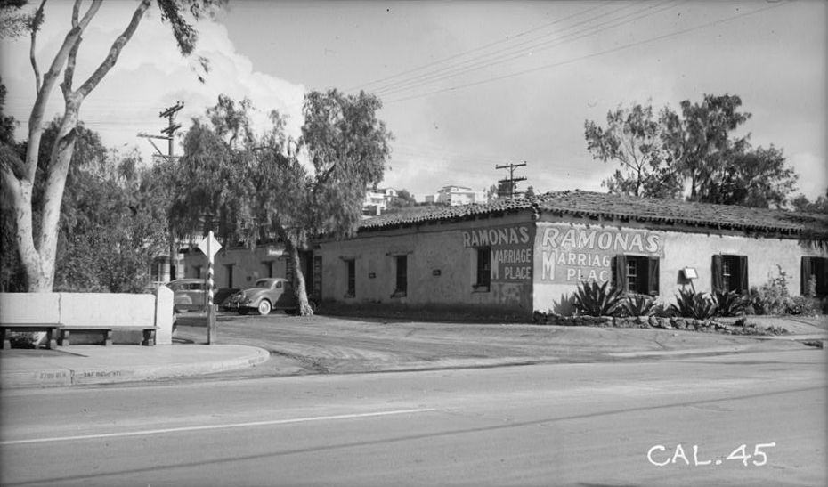 "In 1937, with ""Ramona's Marriage Place"" prominently visible. Note the missing cupola."