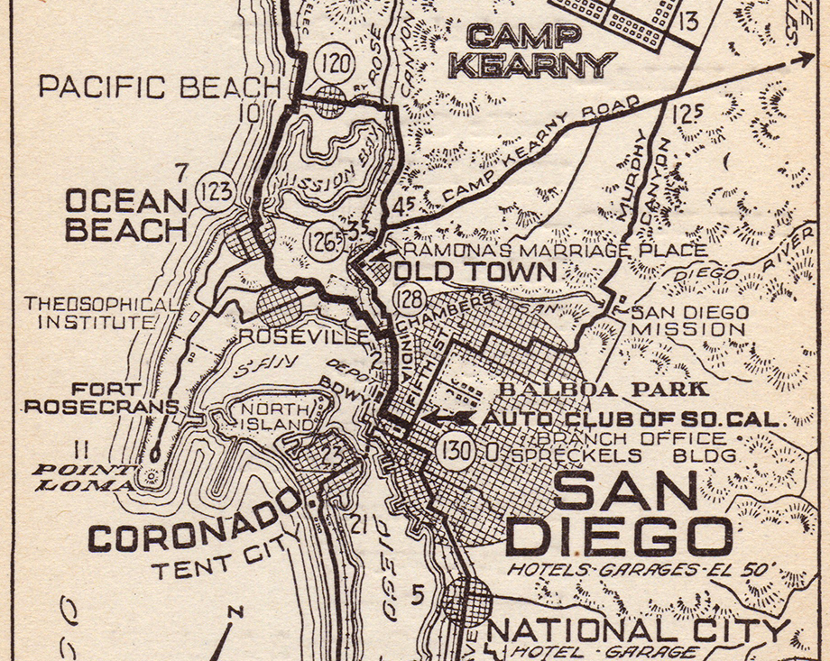 "Clip from the 1920 Automobile Club of Southern California map No. 482, showing Casa de Estudillo as ""Ramona's Marriage Place"" in Old Town."