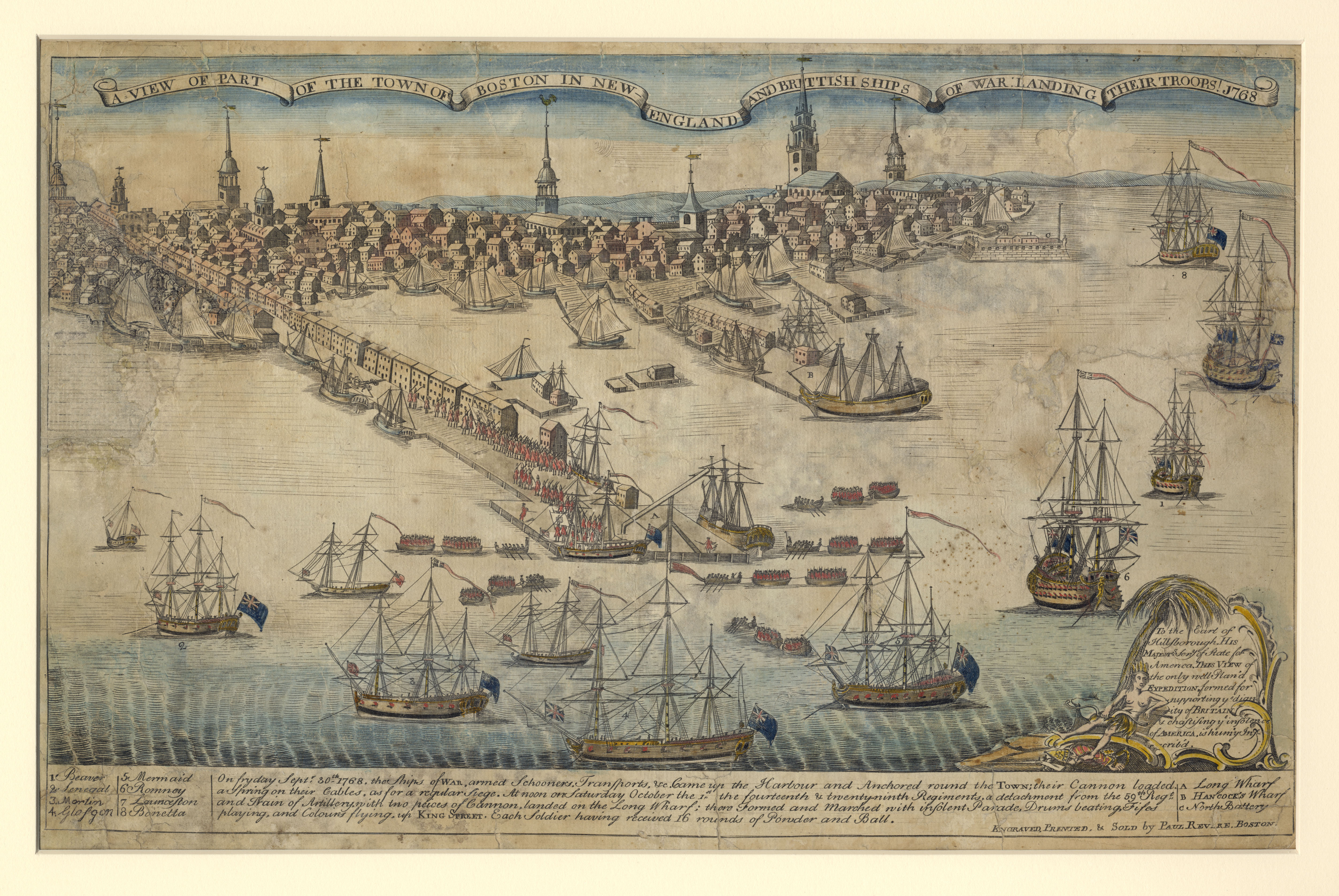 Engraving by Paul Revere. Depicts British ships landing at the Long Wharf .