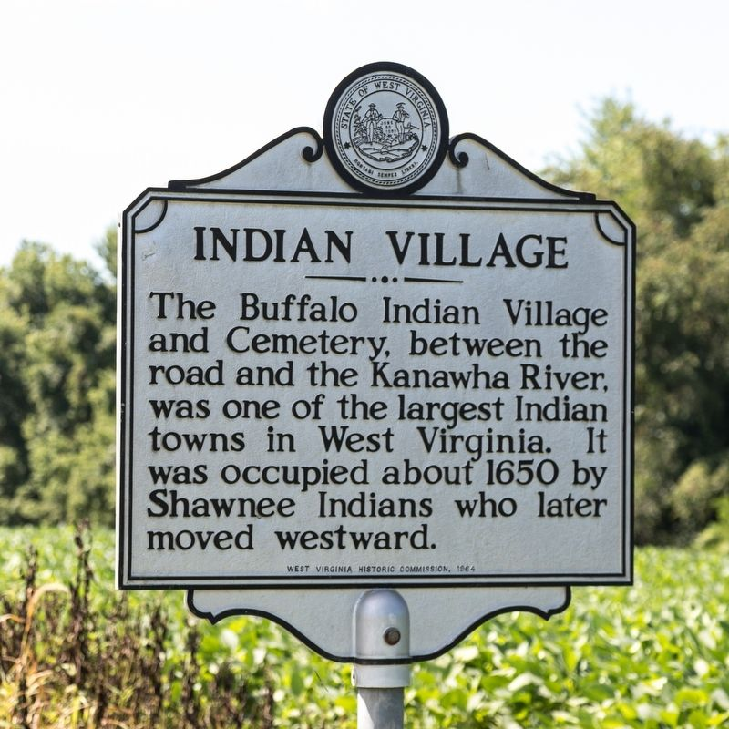 Historical marker for the Buffalo Indian Village excavation site, erected in 1964.