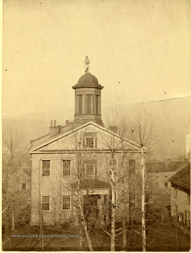 "The 1848-1890 ""Old Courthouse,"" ca. 1851-1890. Note the statue of Patrick Henry on the rotunda"