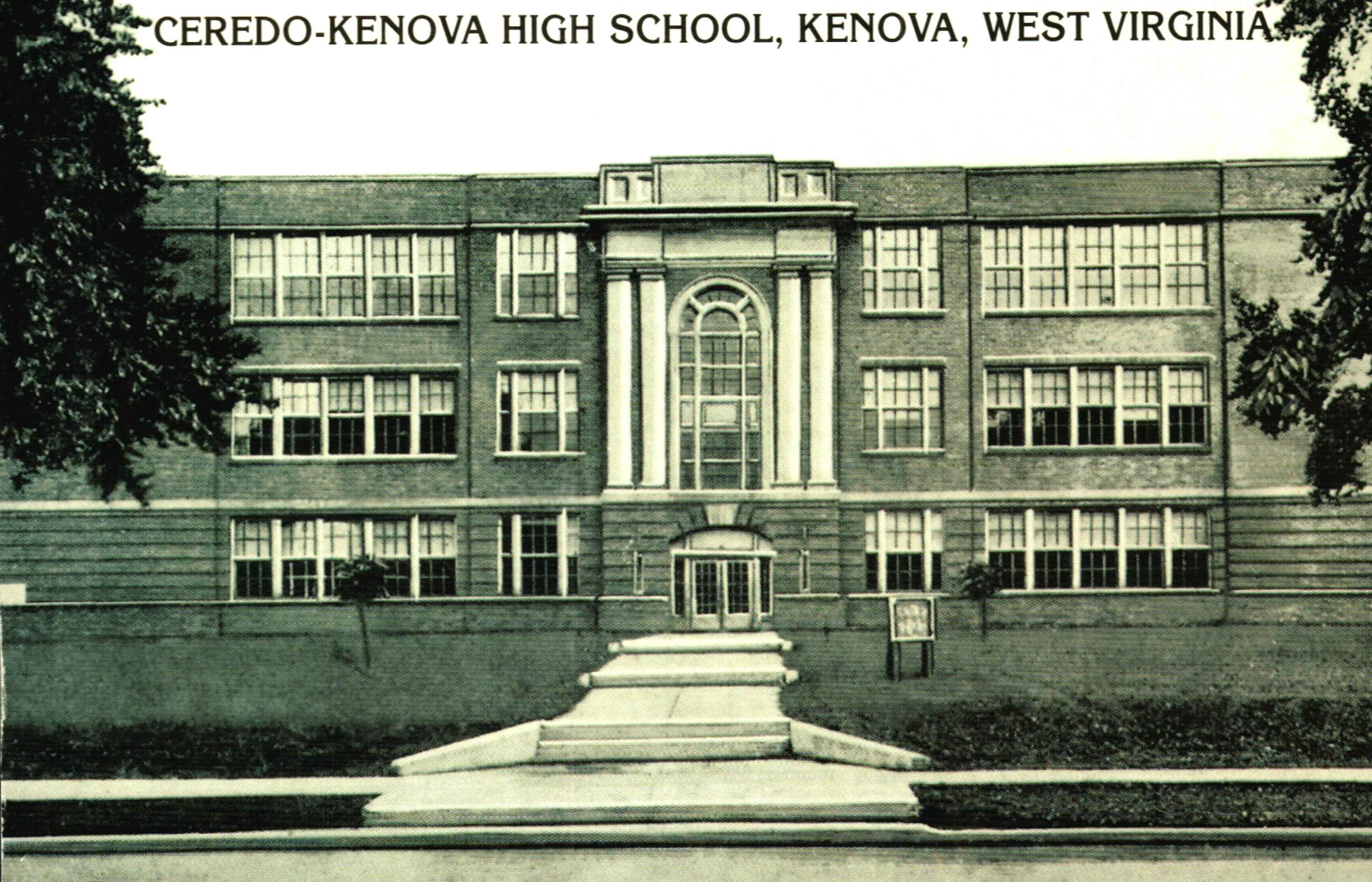 The communities of Ceredo and Kenova were symbolically united in 1923 with the opening of Ceredo-Kenova High School, which brought together students from both towns. The school closed in 1998. Image courtesy of the Ceredo Historical Society Museum.