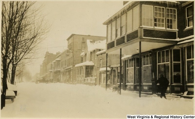 Thomas' commercial riverfront under snow. Photo undated.