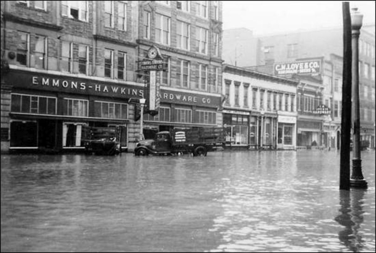 A photo of the Emmons-Hawkins Hardware Co. during the 1937 flood, courtesy of James E. Casto.