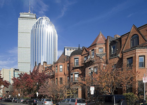 Typical South End Rowhouses near the Prudential Center Tower, Courtesy of http://www.south-end-boston.com/History