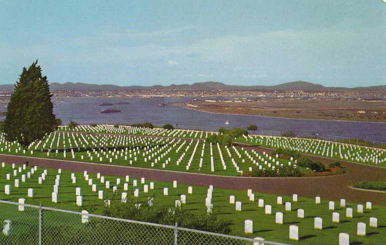 The cemetery with San Diego Bay and the city of San Diego in background