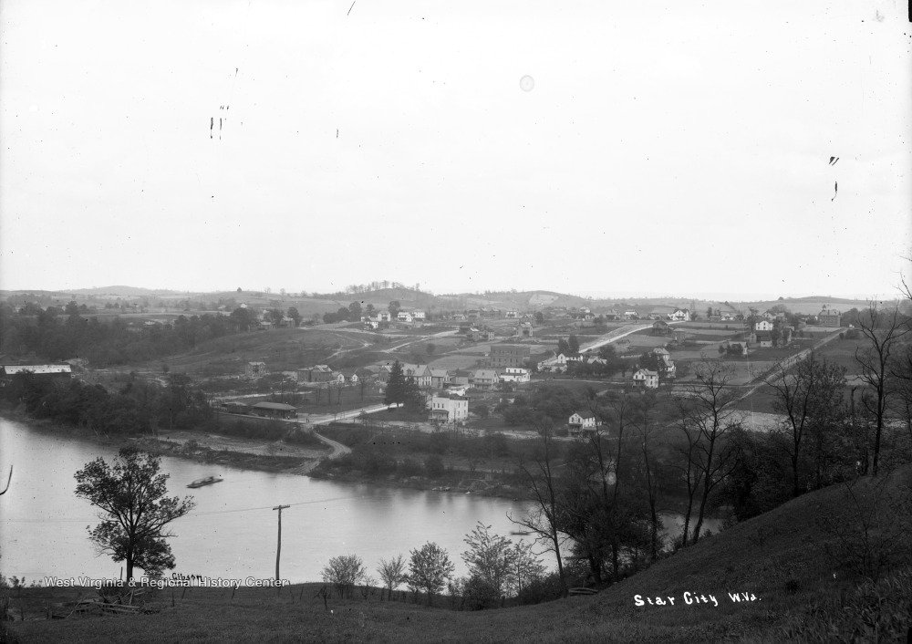 Undated photo of Star City from across the Monongahela River, with the Star Glass works to the left.