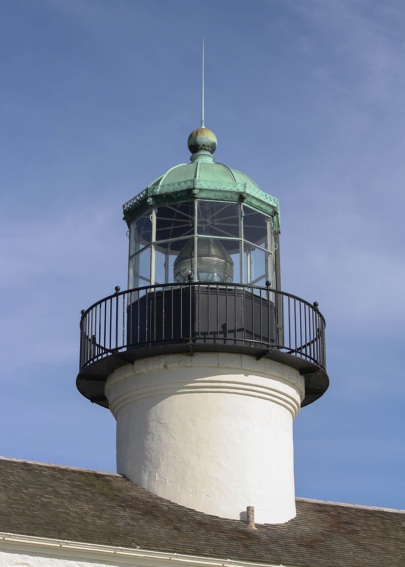 Closeup look of where lighthouse keepers would keep watch; aka the Crows Nest.