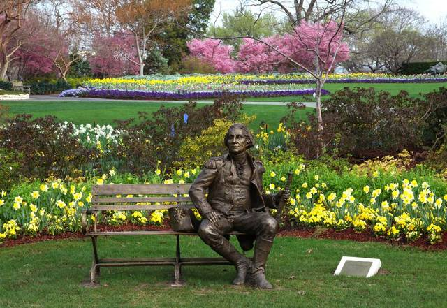 Sit and have a chat with George Washington.  There are other statues of famous individuals located throughout the arboretum.