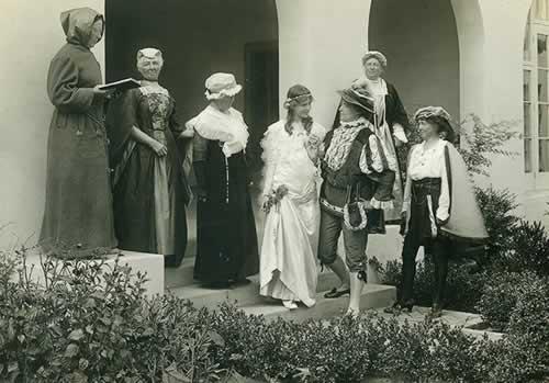 Members of the Woman's Club prepare for their production of Romeo and Juliet, circa 1920
