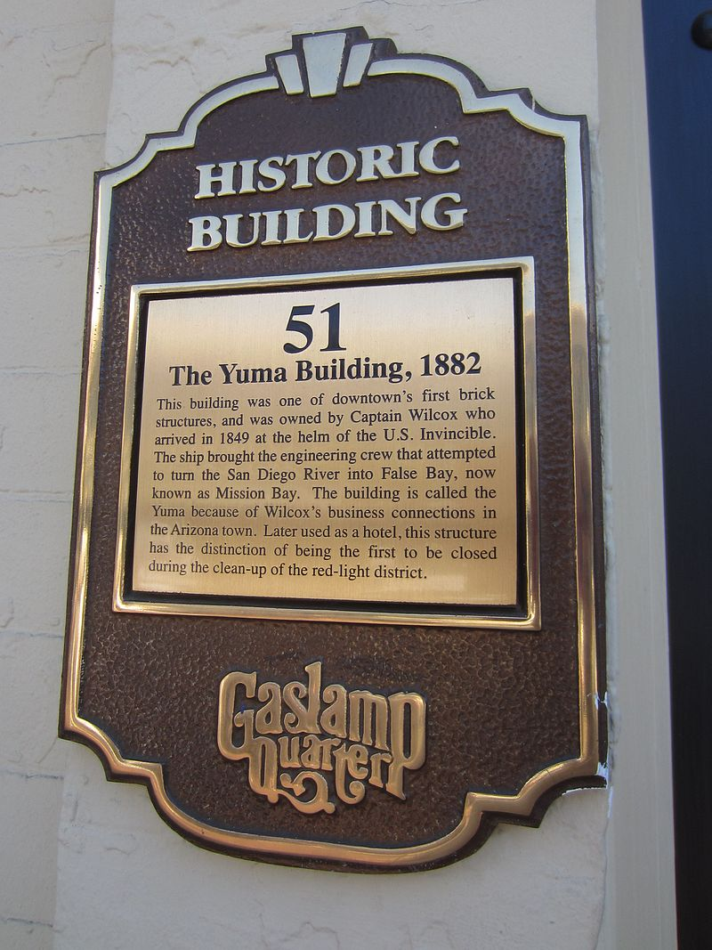 Historic plaque on the front of the building