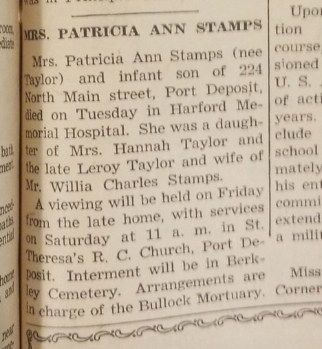 Newspaper cutout of the announcement of Mrs. Stamps' viewing