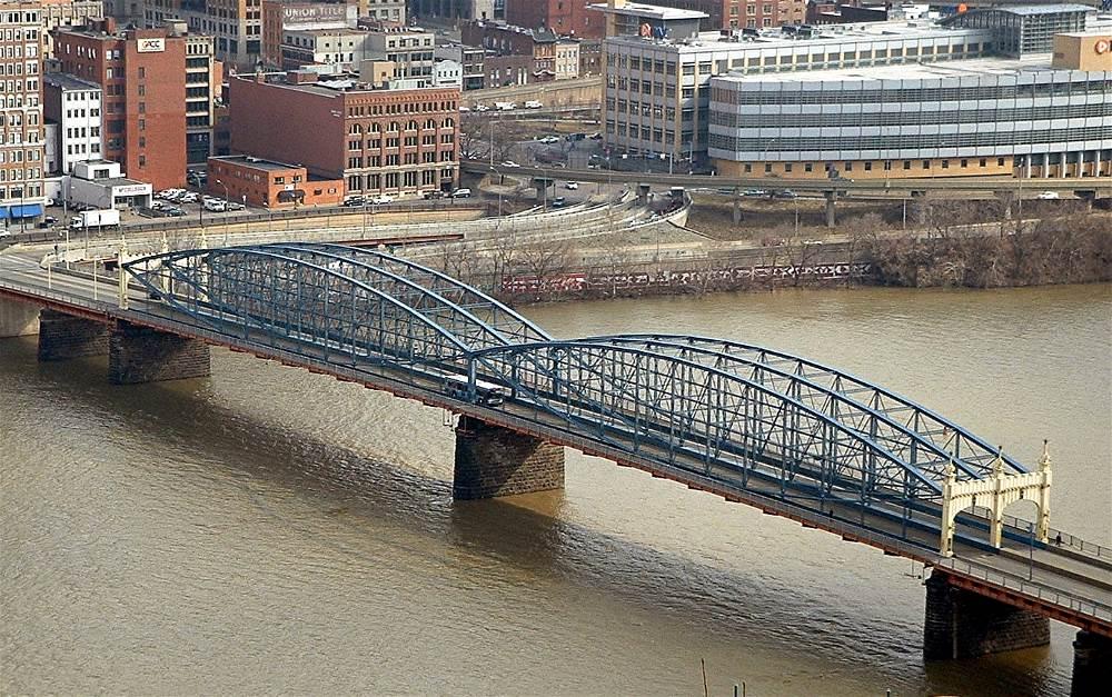 The Smithfield Street Bridge, which spans the Monongahela River, as seen from Mt. Washington.