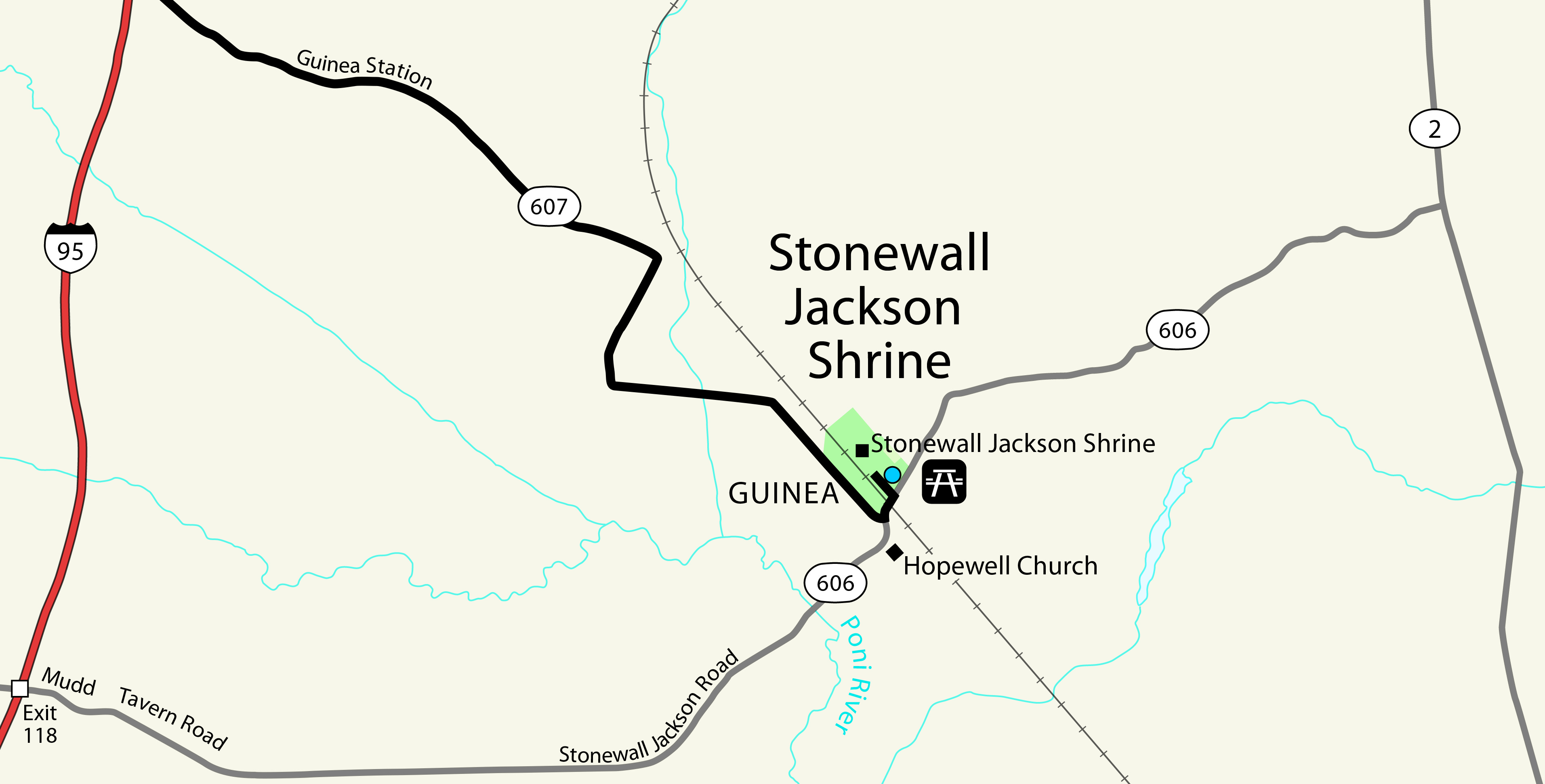 """Where the """"Stonewall"""" Jackson Shrine is located on the map"""