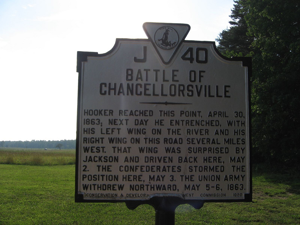 Historic marker where the Battle of Chancellorsville took place