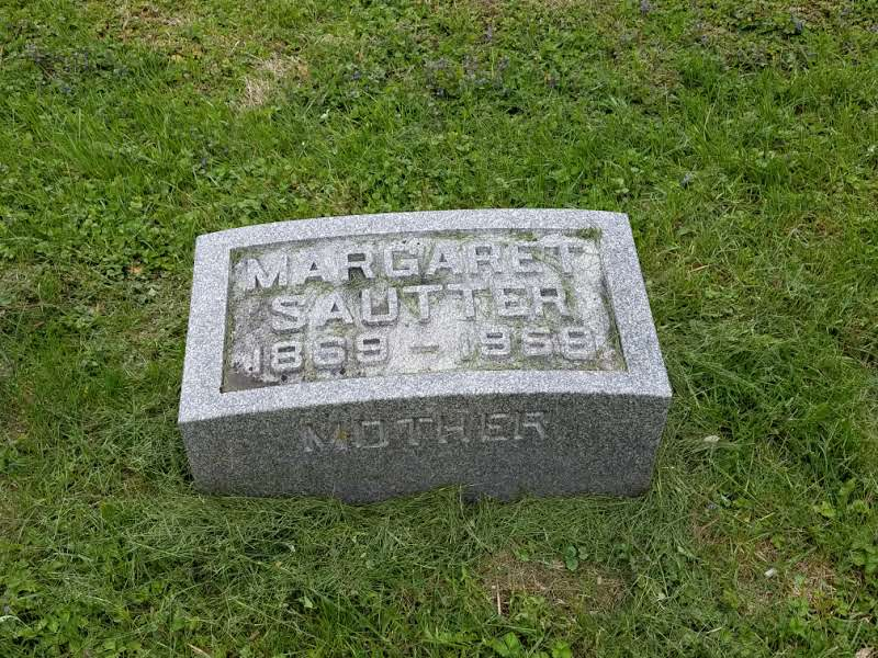 The grave of Margaret Sautter who donated the cemetery to lot owners in 1936.