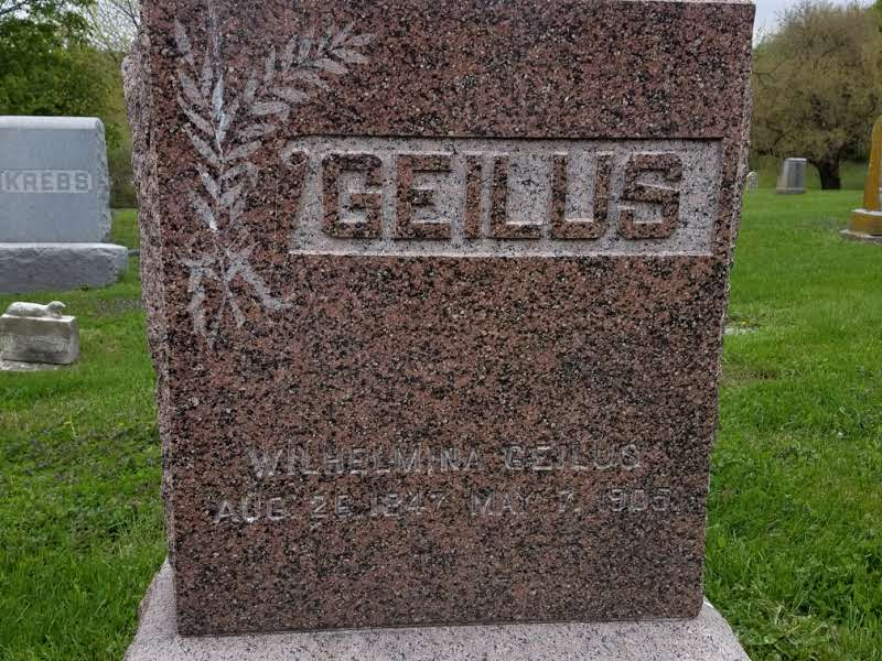 Grave of Wilhelmine Geilus, the maternal grandmother of Fred Astaire. Located in lot 2 of the cemetery.