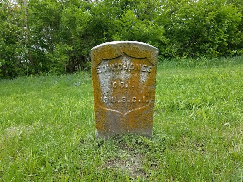 Grave stone of Edward Jones located on the eastern edge of lot 9.