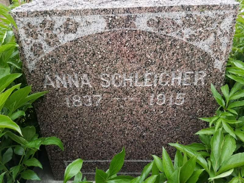 Grave of Anna Schleicher, the maternal grandmother of Peter Kiewit which is also located in lot 2. The grave stone is surrounded by flower plants and is not far from the grave of Wilhelmina Geilus.