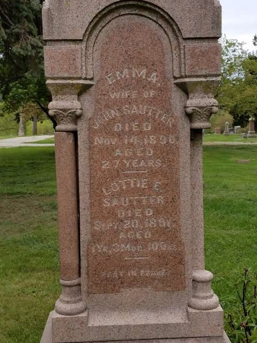 Grave marker of Christian Sautter and other immediate family members buried in the same plot.