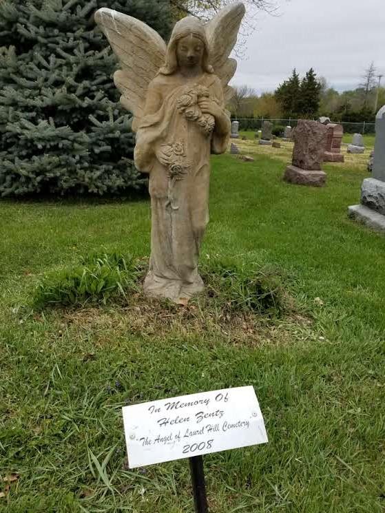 The angel statue dedicated to Helen Zentz.