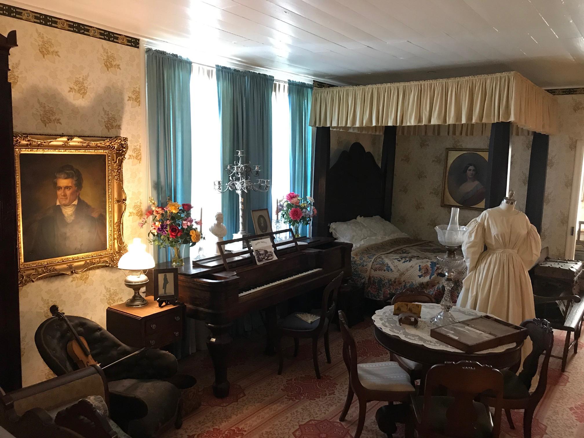 Floride Calhoun's piano and Replica Dress