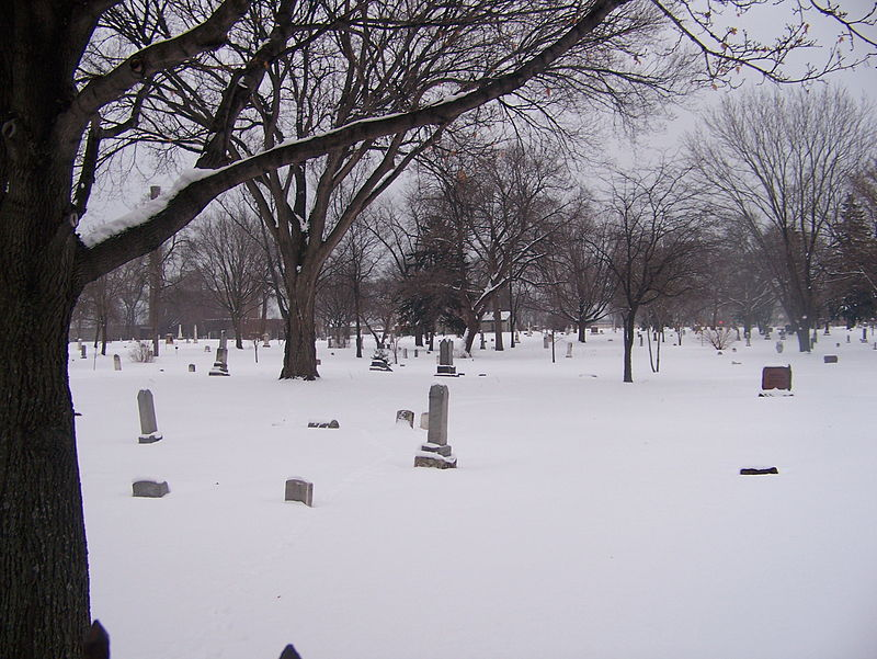 The cemetery beneath a blanket of snow