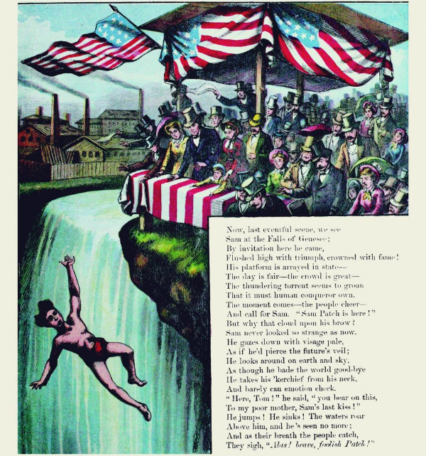 "Illustration and poem from a 1870's children's book titled ""The Wonderful Leaps of Sam Patch"""