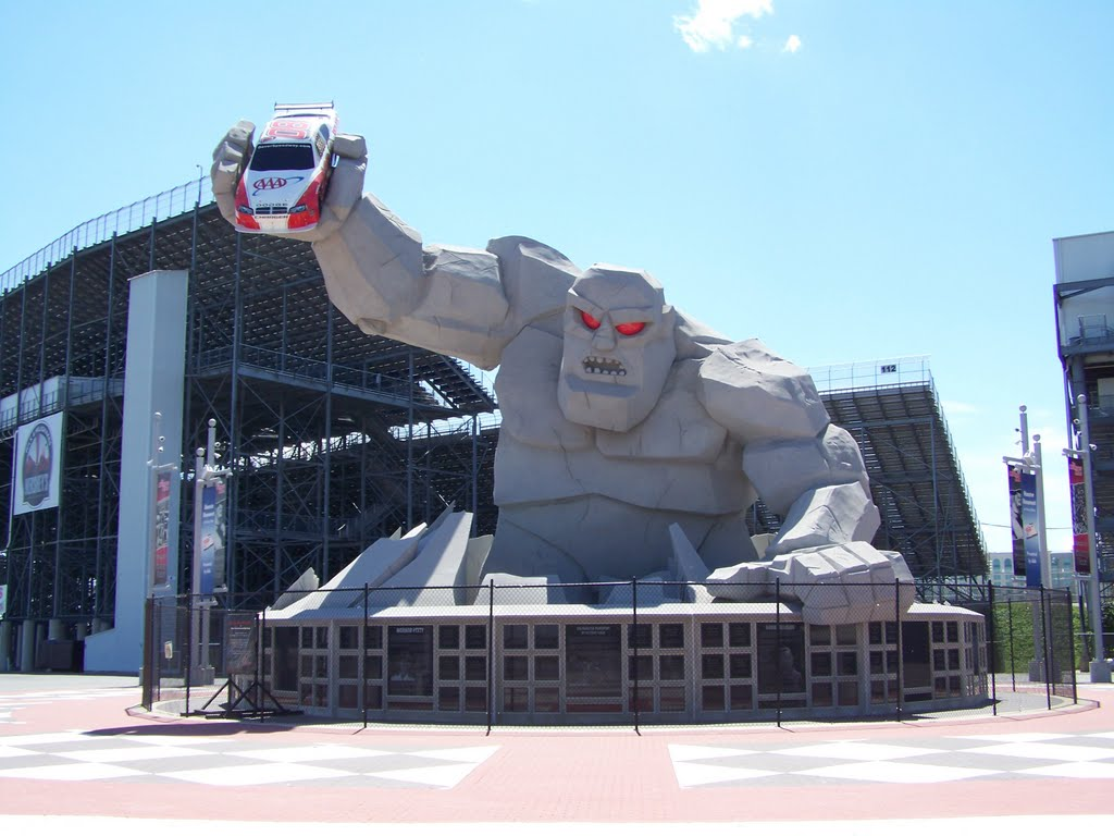"Dover International Speedway is known as ""The Monster Mile."" This statue of Miles the Monster is located outside the track."