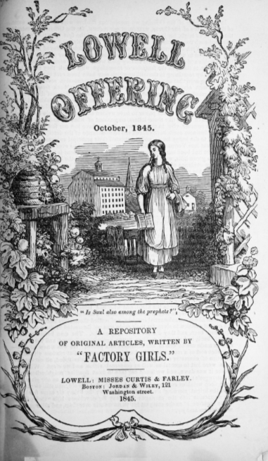 "Title page of ""The Lowell Offering,"" a magazine of writings by women working in the Lowell mills. As the illustration suggests, authors often depicted their lives as millhands favorably, focusing on the opportunities for education and personal growth provided within the paternalistic system."