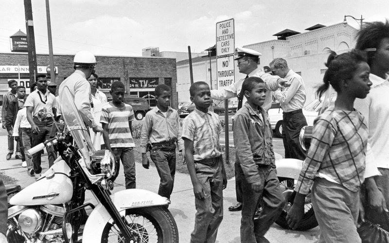 Children as young as elementary school students were arrested for nonviolent demonstrations against segregation. Here, children are arrested near Birmingham City Hall, May 4, 1963.