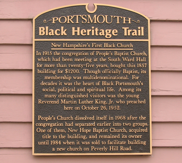 People's Baptist Church plaque