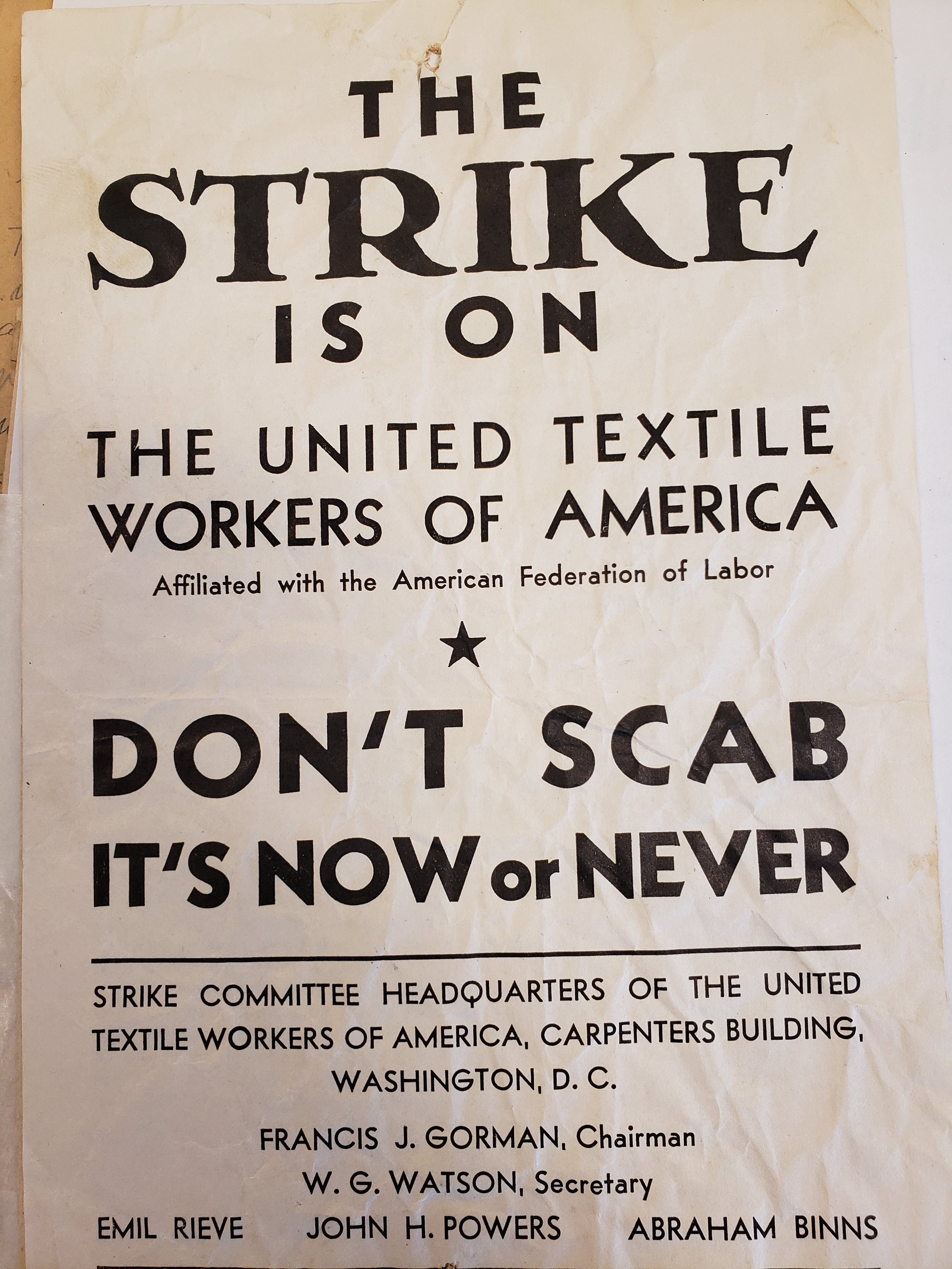 TWUA pamphlet for Harmony Grove mill strikers in Commerce, GA