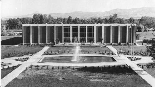 View of the the front of the Library and Fountain, ca. 1969.