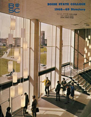A view of the entry lobby of the Library as depicted on the cover of the student directory for 1968-69. This space, part of the original Library building constructed 1963-64, was expanded to a three floor atrium in 1995.