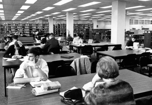 Students studying in the Boise College library, ca. 1966.