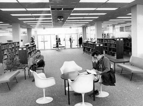 Students studying in the newly-opened Boise Junior College library, 1964.