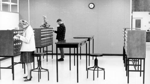 Patrons of the Boise College library using the card catalog, ca. 1965.