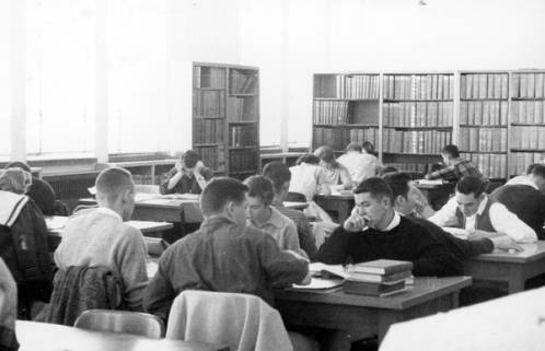 Students studying in the Boise Junior College library when it was still located in the Administration Building, ca. 1961.