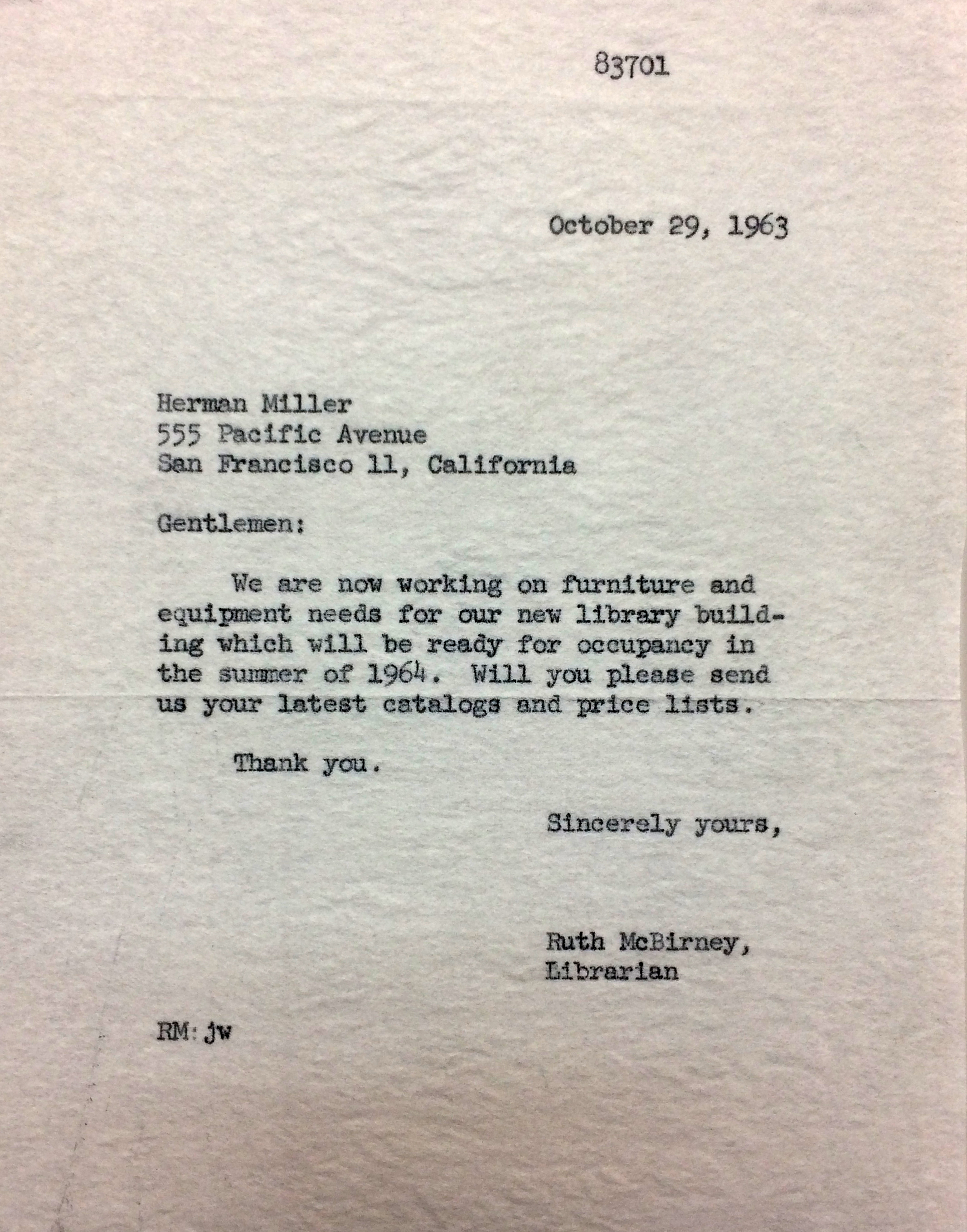 Miss Ruth McBirney, Head Librarian's letter to Herman Miller requesting a catalog of furniture and price lists for the new Library Building.