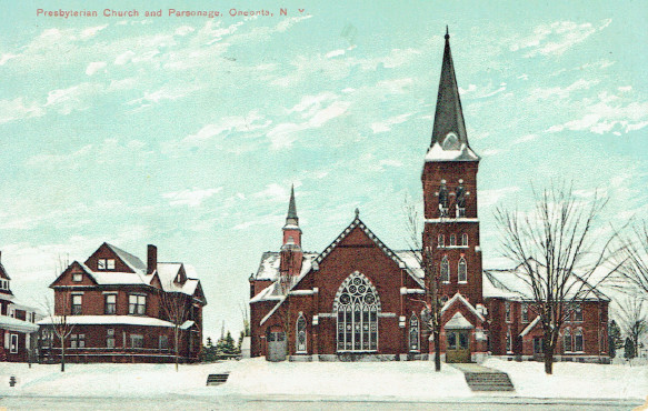 First Presbyterian Church, in front of the cemetery (Greater Oneonta Historical Society)