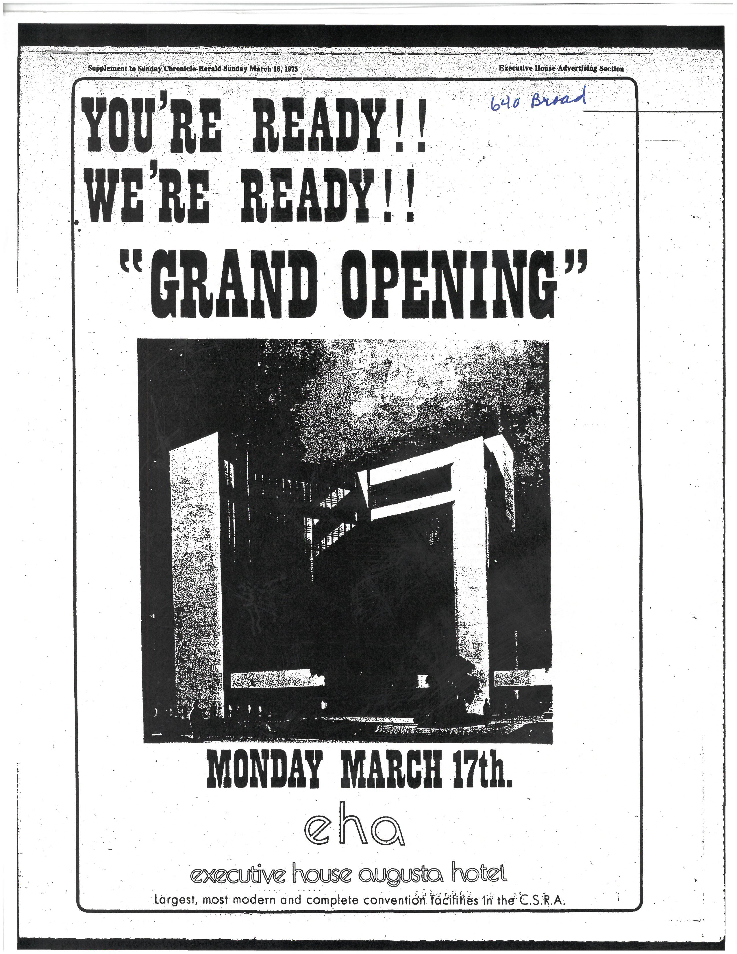 Ad for grand opening of hotel