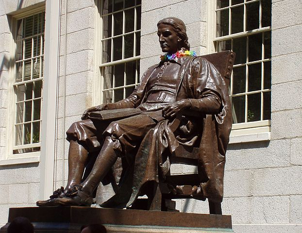 """""""John Harvard Statue,"""" also known as the """"Statue of the three lies"""" because (1) Harvard was founded in 1636, not 1638 (2) Harvard was an early benefactor, not the founder and (3) the statue is not of Harvard, but of a 19th-century Harvard student."""