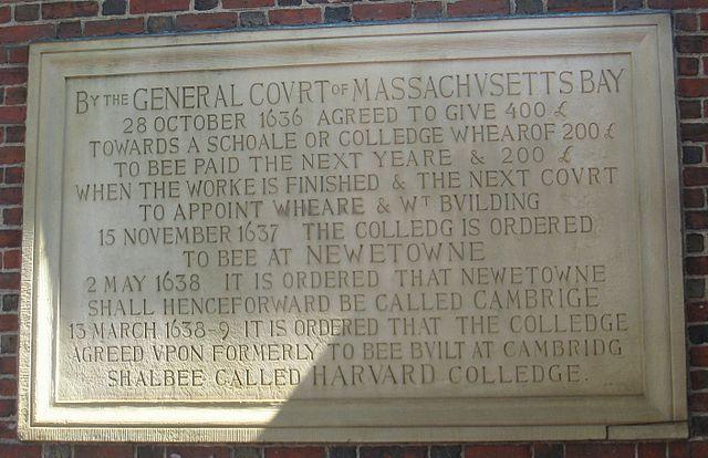 """Harvard College"" Plague on the Johnston Gate"