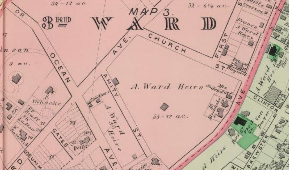 Ward house owned by Ward heirs on 12-acre lot on 1887 Beers Atlas map